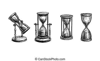 Ink sketch of vintage hourglasses. - Vintage hourglasses set...