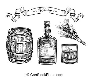 Whiskey set. Ink sketch isolated on white background. Hand drawn vector illustration. Retro style.