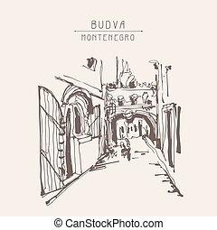 ink sketching of historic narrow cobbled street in Budva...
