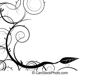 ink spiral - Black and white floral design with copy space