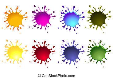 ink splash, various colors