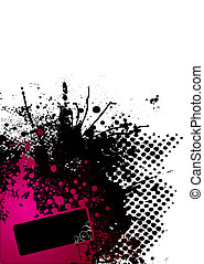 ink splat red - Abstract red and black corner design with...