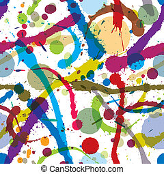 Ink splatters and drops seamless. - Colorful ink splatters ...