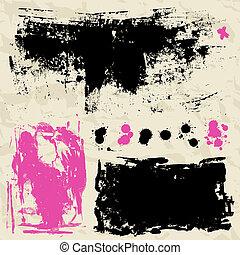 Stylish grunge ink set. Design symbols Vector isolated