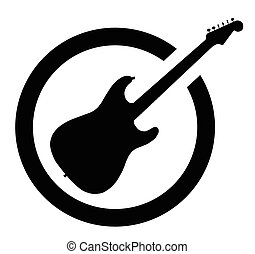 The definitive rock and roll guitar as as rubber ink stamp in black, isolated over a white background.