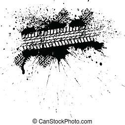 Ink tire track - White banner on black ink blot