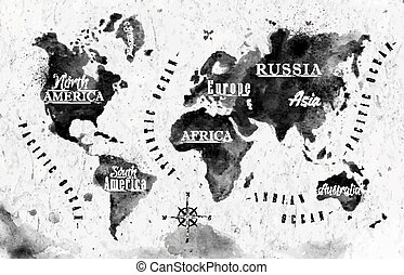 Ink world map in vector format black and white graphics in vintage style