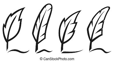 Ink writing quill feather pen icon set