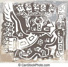 inka, icon., vektor, grunge, abbildung
