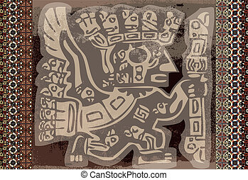 inka, icon., vektor, grunge, illustration