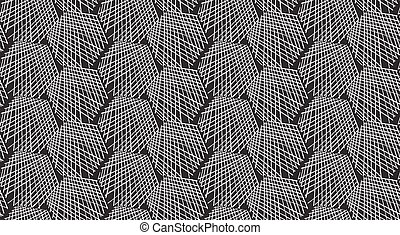 Inked strokes in hexagon shape on black