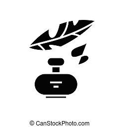 Inking black icon, concept illustration, vector flat symbol, glyph sign.