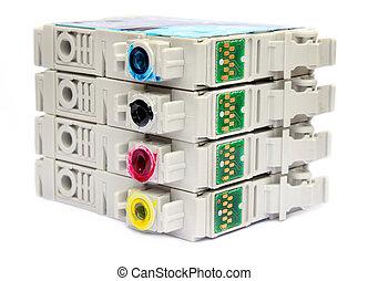 Inkjet printer cartridges isolated over whtie background