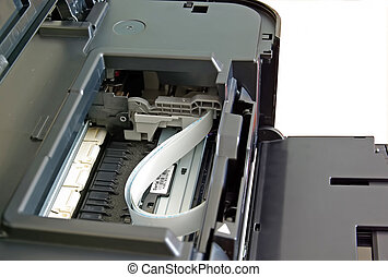 Inkjet printer details with opened lid