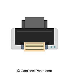 Inkjet printer icon, flat style