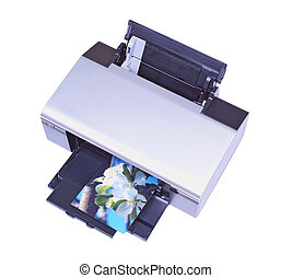 Inkjet printer with my own image isolated over white...