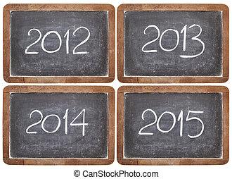 inkomend, jaren, op, bord