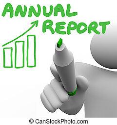 inkomsten, financieel, verdiend, omzet, geld, jaarlijks, resultaten, winsten, rapport, geschreven, producten, summarizing, woorden, teken, zulk, man, illustreren