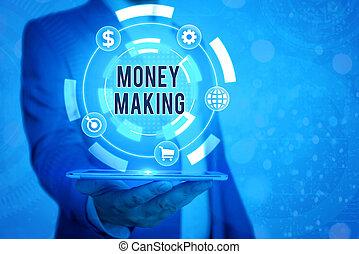 inkomsten, investment., concept, handschrift, management, tijd, goed, geld, kosteloos, betekenis, making., stress, tekst, winst