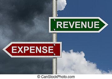 inkomsten, tegen, kosten