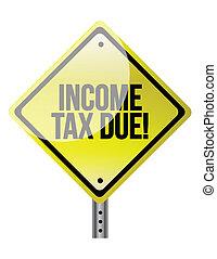 inkomstenbelasting, schuldig, gevaartekens, illustratie,...