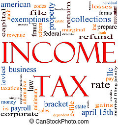 inkomstenbelasting, woord, wolk, concept