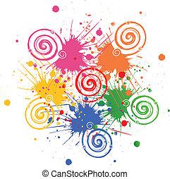 inkoust, grunge, swirly, bradavičky, emblém, vektor