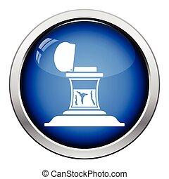 Inkstand icon. Glossy button design. Vector illustration.