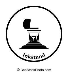 Inkstand icon. Thin circle design. Vector illustration.