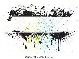 inkt, grunge, achtergrond, vector