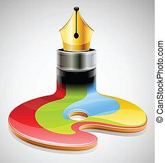 inkt pen, als, symbool, van, visueel, kunst