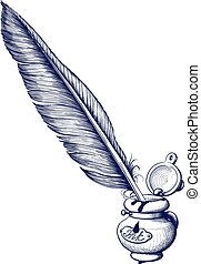 Inkwell and quill pen - Inkwell and inserted into her quill