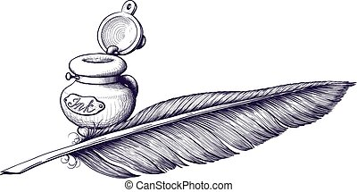 Inkwell and quill pen lying next