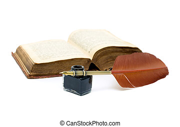 inkwell, pen and open book on white background