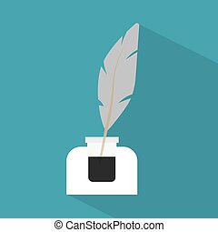 inkwell with a pen icon- vector illustration