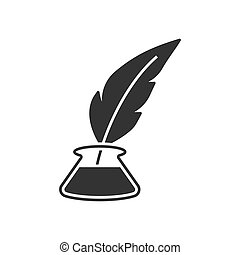 Inkwell with feather pen icon