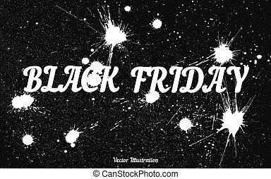 inky, grunge, vrijdag, zwarte achtergrond, dribbelen