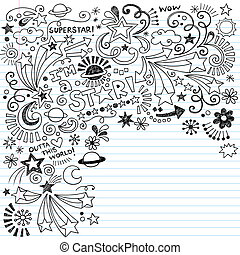 Inky Superstar Doodles Vector - Superstar Scribble Inky...