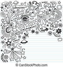 inky, superstar, doodles, vetorial