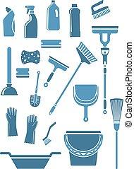 inländisch, werkzeuge, reinigenden zubehör