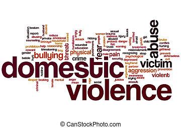 inländische gewalttätigkeit, wort, wolke