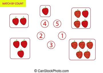 inlärning, många, lek, hur, numrerar, task., matematik, ...