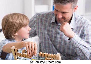inlärning, med, fader, är, nöje