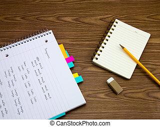 inlärning, språk, skrift, portuguese;, anteckningsbok, ord, färsk