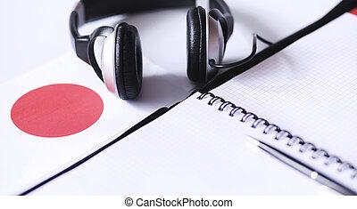 inlärning, utländsk, languages., anteckningsblock, för, poster, och, a, flag., lang