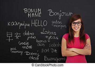 inlärning, utländsk, språk