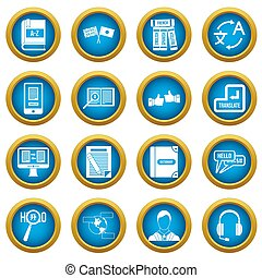 inlärning, utländsk, språk, ikonen, blå, cirkel, sätta