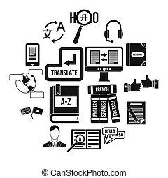 inlärning, utländsk, språk, ikonen, sätta, enkel, stil