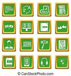 inlärning, utländsk, språk, ikonen, sätta, grön