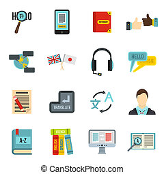 inlärning, utländsk, språk, ikonen, sätta, lägenhet, stil